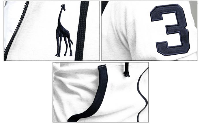 Casual Style Embroidery Deer Long Sleeves Men's Polyester Hoodies