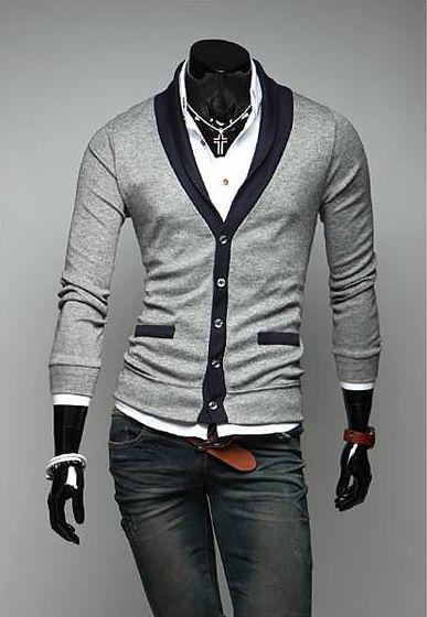 Preppy Style Color Block V-Neck Long Sleeves Men's Cotton Blend Cardigan