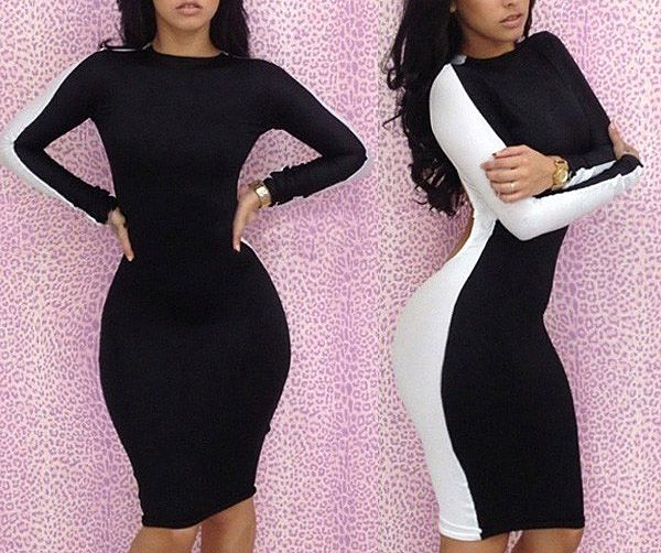 Long Sleeves Round Neck Stitching Hollow Out Backless Packet Buttock Sexy Casual Women's Dress