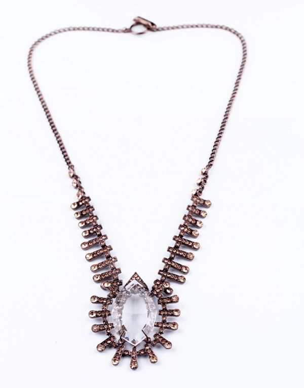 Vintage Faux Crystal Alloy Long Pendant Necklace