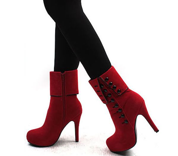 Suede Button Mid Calf Boots, RED, 3 in Boots | DressLily.com