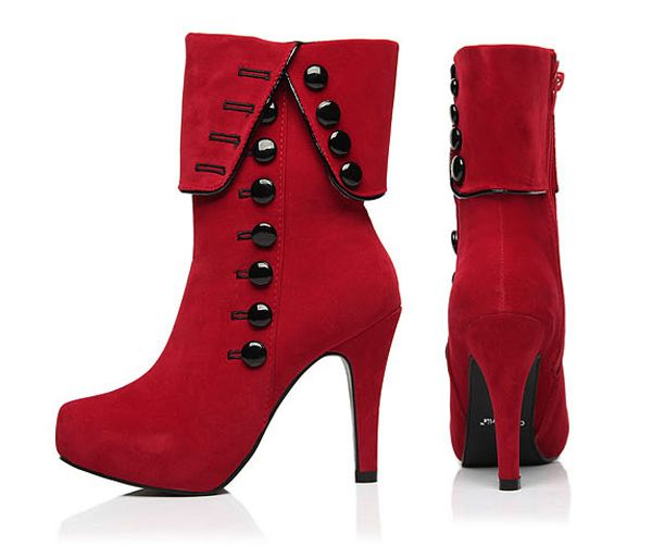 Fold Over Button Mid Calf Boots