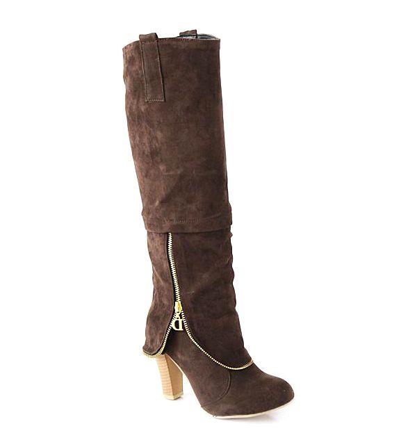 Elegant Suede and Zipper Design Women's Knee High Boots