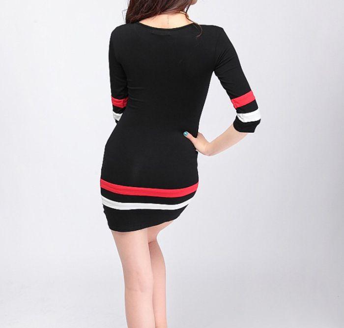 Trendy V-Neck Striped Splicing 3/4 Sleeve Bodycon Dress For Women