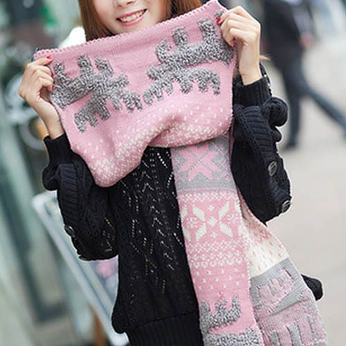 Ethnic Style Christmas Deer Print Colored Long Winter Scarf For Men and Women