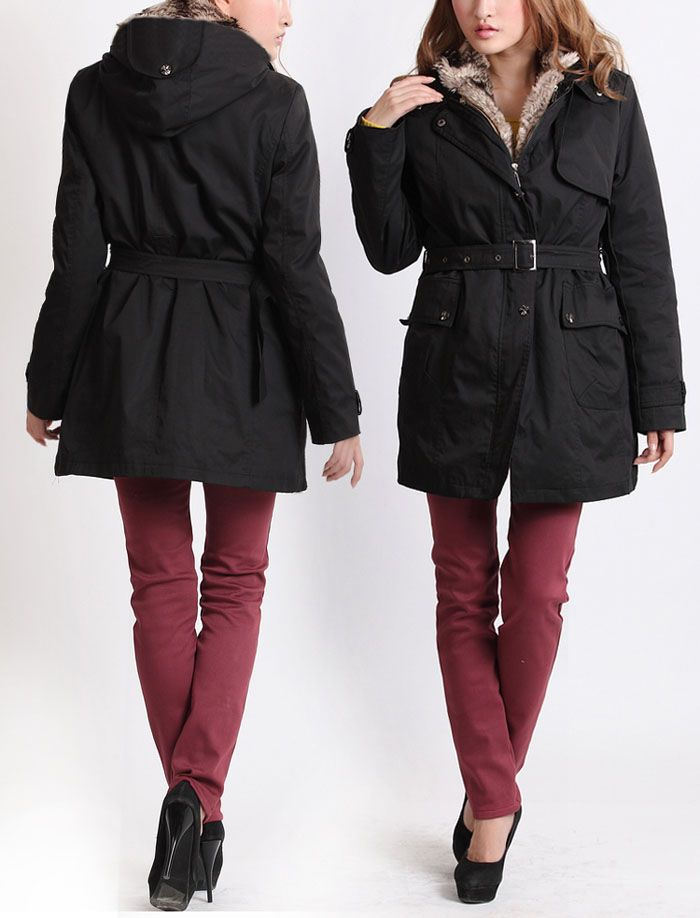 Women's Cotton Solid Color Thickened Faux Fur Lined Waistband Beam ...