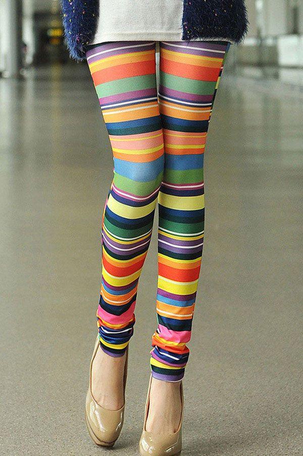 Colorful Print High Elasticity Straight Leg Women's Leggings