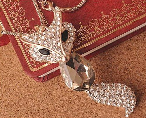 Retro Rhinestone Crystal Fox Women's Sweater Chain Necklace