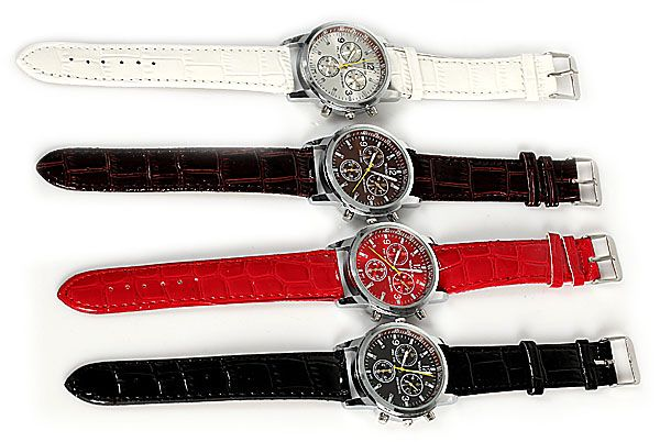 WoMaGe Quartz Watch with Rectangles Hour Marks Real Leather Watchband for Women