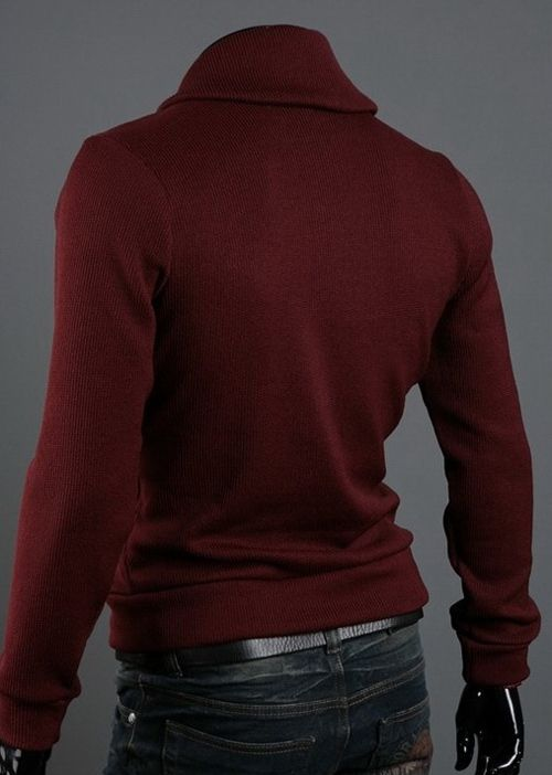 Korean Style Polo Collar Button Embellished Long Sleeves Men's Cotton Blend Sweater