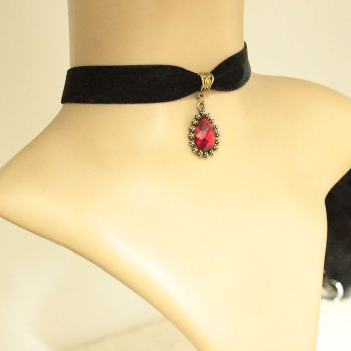 Gothic Drop Ruby Pendant Necklace For Women