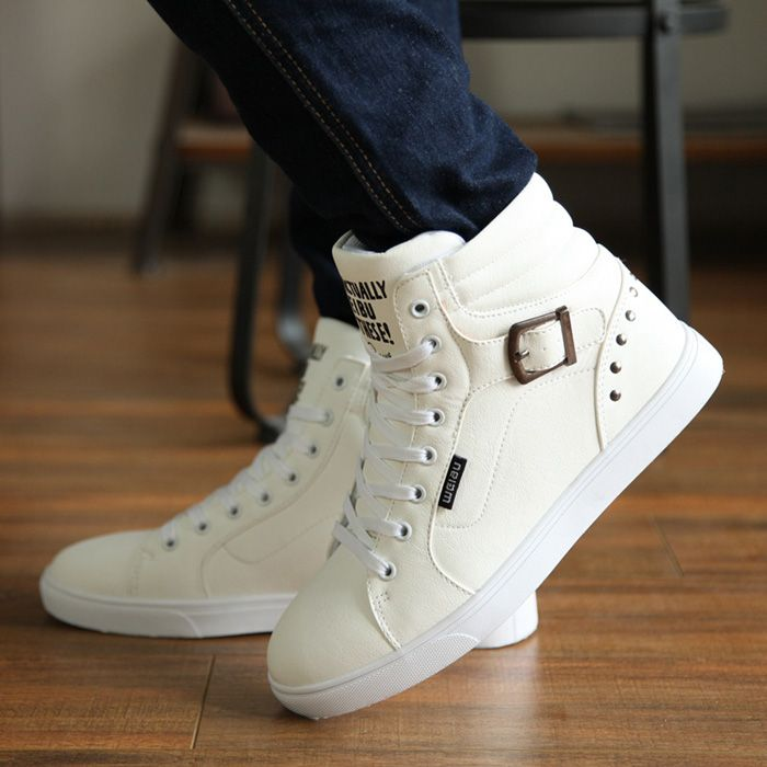 Casual Buckle and Rivets Design Men's Boots
