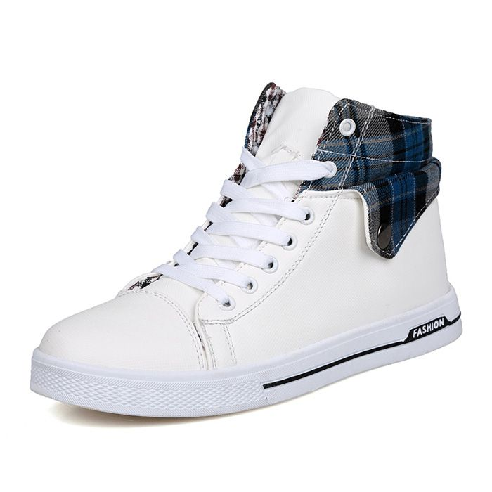 Preppy Checked and Fold Design Men's Casual Shoes