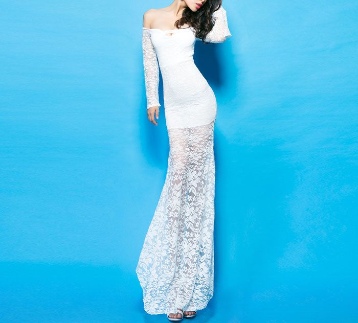 Solid Color Boat Neck Long Sleeves Lace Sexy Style Women's Maxi-Dress