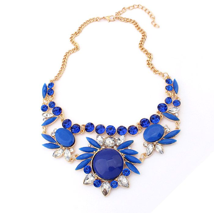 Easy Matching Colored Flower Embellished Alloy Necklace For Women