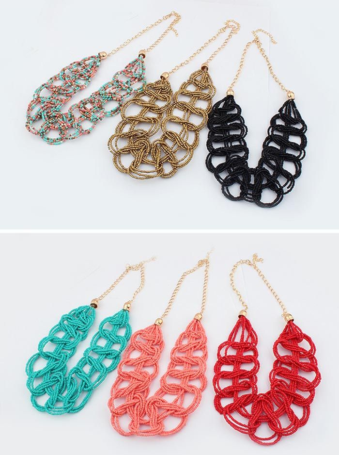 Vintage Vivid Colored Beaded Knitting Design Necklace For Women