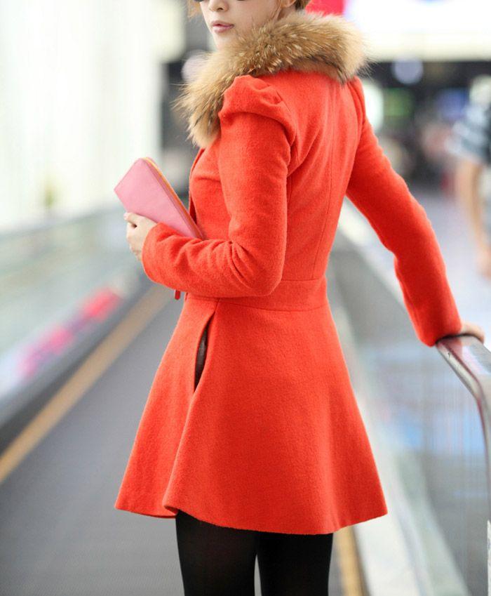 Women Woolen Winter Trench Double Button Coat