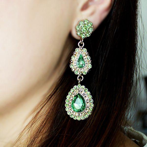 Pair of Long Faux Gemstone Teardrop Earrings