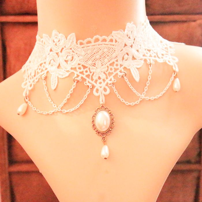 Chic Faux Pearl Pendant White Lace Necklace For Women