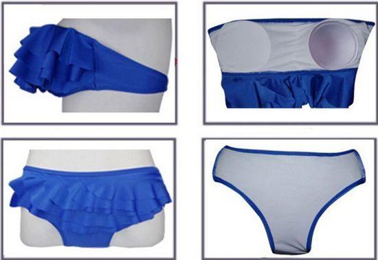 Multilayered Flounces Solid Color Divided Type Sexy Women's Swimwear Bikini Set