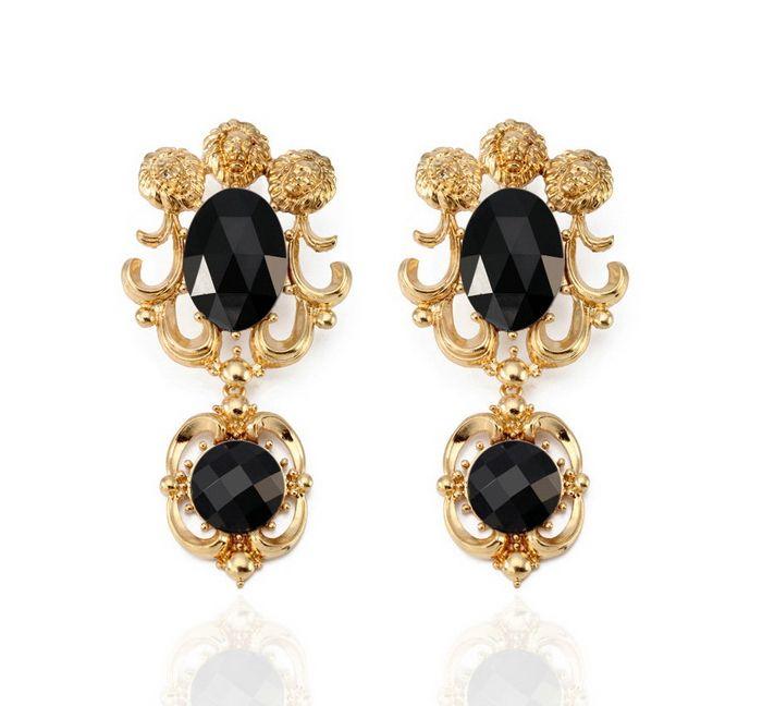 Pair of Retro Faux Gemstone Earrings