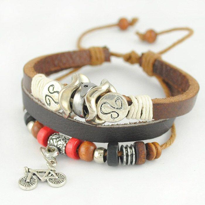 Ethnic Fashion Wooden Bead Embellished Bicycle Pendant Multi-Layered Charm Bracelet