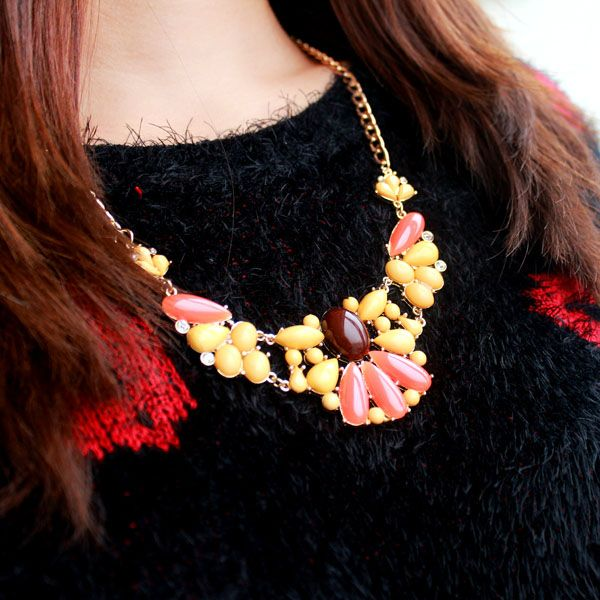 Teardrop Alloy Faux Gemstone Pendant Necklace