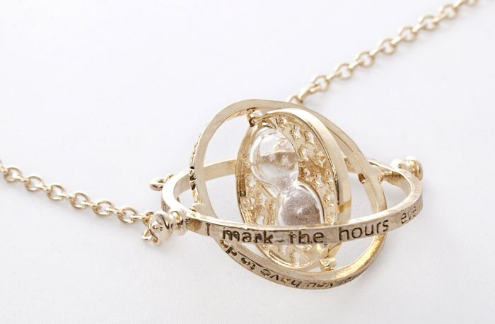 Time Turner and Hourglass Pendant Necklace