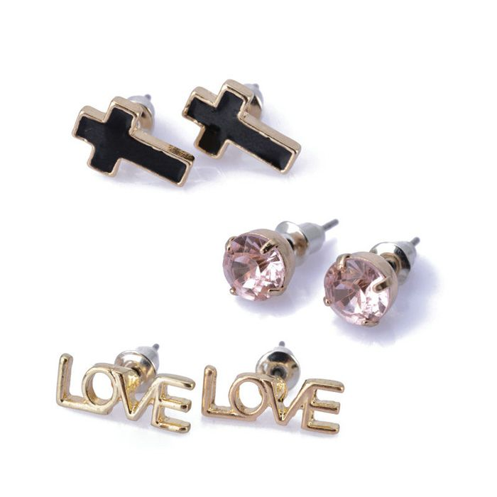 3 Pairs of Love Round and Cross Shape Rhinestoned Stud Earrings