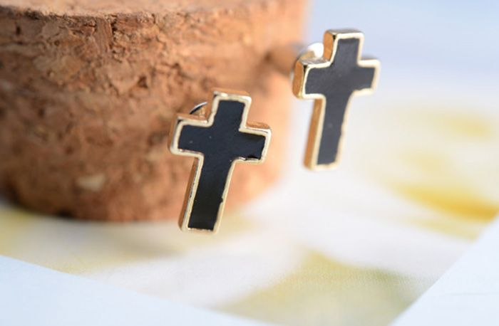 3 Pairs of Love Round and Cross Shape Rhinestoned Stud Earrings