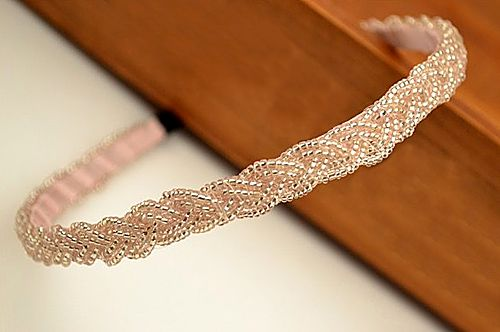Simple Beading Solid Color Hair Band For Women