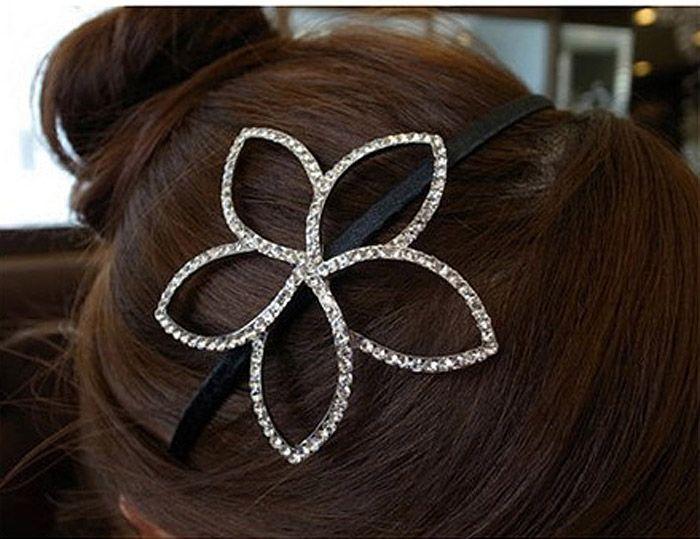 Cute Rhinestone Decorated Openwork Flower Hairband For Women