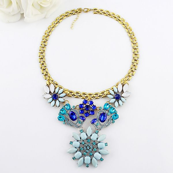 Characteristic Faux Gem Openwork Flower Shape Alloy Necklace For Women