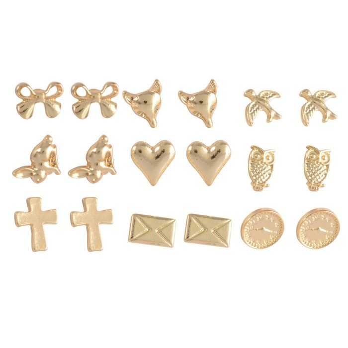9Pairs of Alloy Cross Bowknot Fox Owl Earrings