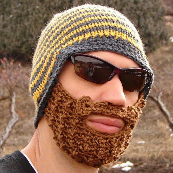 Valentine Unique Funny Woolen Hat and False Beard Masks Pure Manual