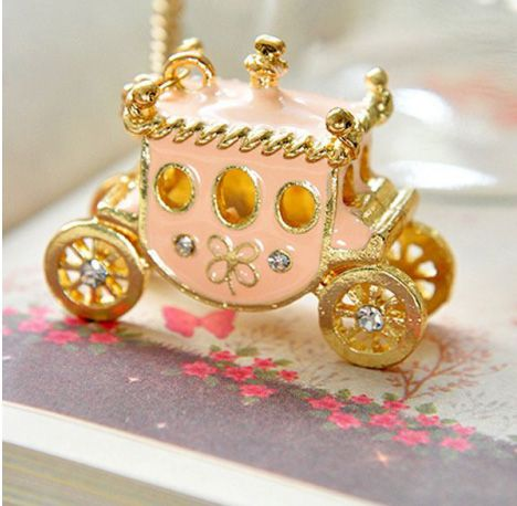 Corean Lovely and Gentle Style Pink Bus Pattern Decorated Necklace