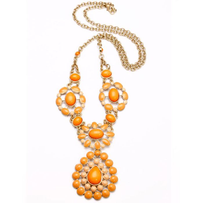 Bohemian Alloy Resin Flower Pendant Necklace