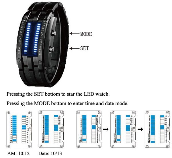 Waterproof Watch with Blue Light Time-Date Indicate Steel Watchband for Men