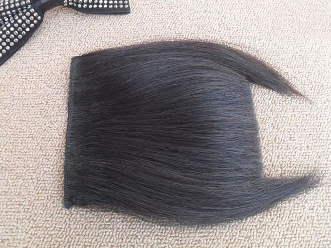 Fashion Fluffy Human Hair Straight Full Bangs With Sideburns For Women (Natural Black)