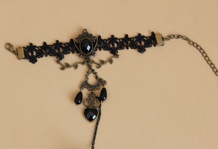 Beaded Hollow Pendant Lace Charm Bracelet With Ring