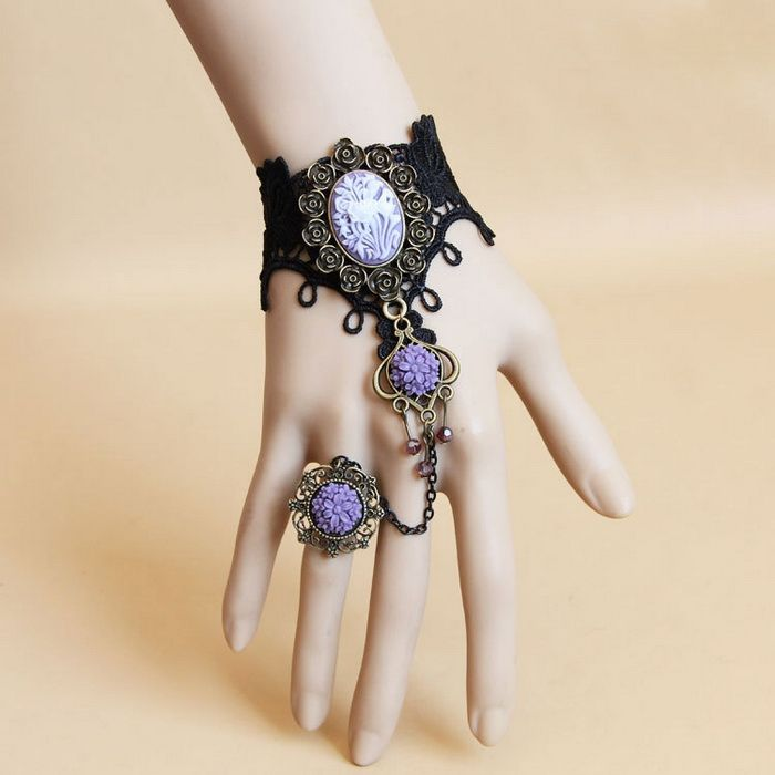 Flower Lace Charm Bracelet With Ring