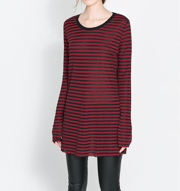 Casual Round Collar Striped Design Long Sleeves T-shirt For Women