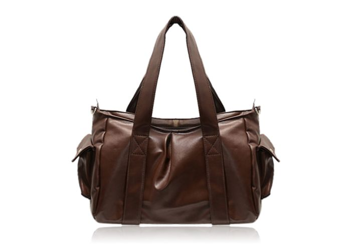 Retro Style Stitching and Solid Color Design Women's Shoulder Bag