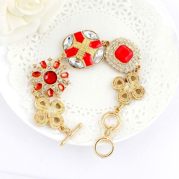 MultielementRhinestoned  Alloy Bracelet