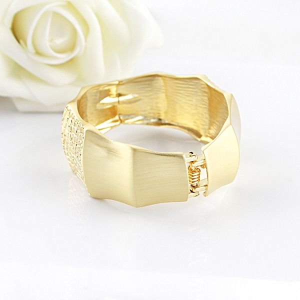 Wide Bamboo Joint Shape Design Alloy Bracelet