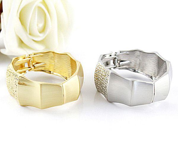 Wide Bamboo Joint Shape Design Alloy Bracelet