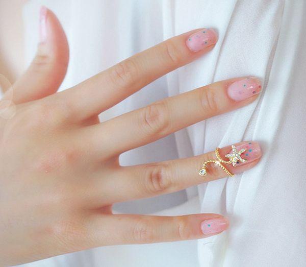 Diamante Starfish Embellished Spiral Alloy Ring