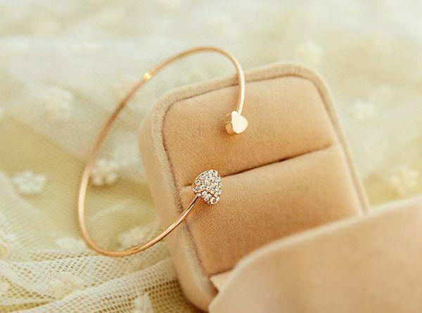 Gold Plated Diamante Heart Embellished Sister Bracelet