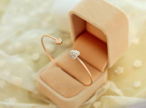 Chic Diamante Heart Embellished Sister Bracelet For Women