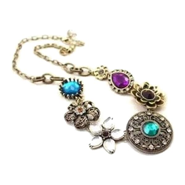Vintage Flower Rhinestone Pendant Necklace